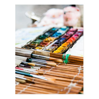 Painting Brushes Postcard