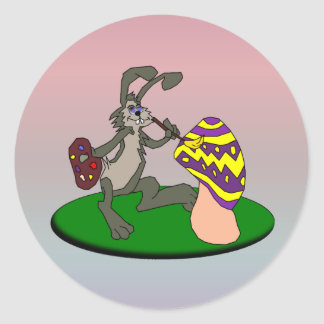 Painting Bunny Classic Round Sticker