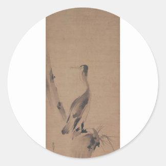 Painting by Miyamoto Musashi c 1600 s Round Sticker