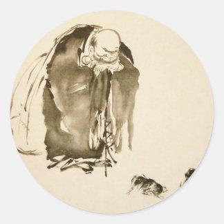 Painting by Miyamoto Musashi c 1600 s Round Stickers