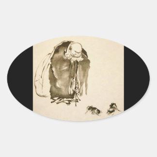 Painting by Miyamoto Musashi c 1600 s Oval Stickers