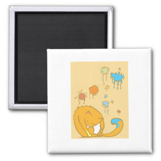 Painting Cat 2 Inch Square Magnet