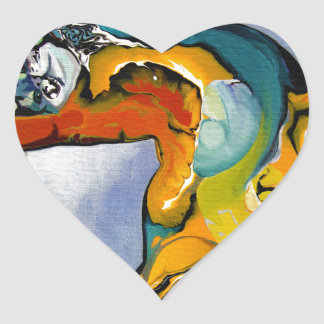painting cat heart sticker