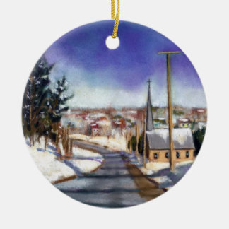 Painting: Church In Snow: Religious Christmas Ceramic Ornament