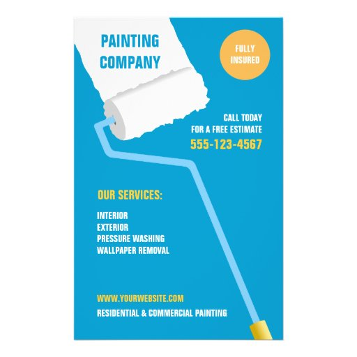painting company contractor flyer zazzle