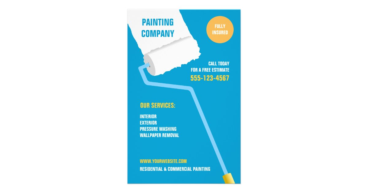 Painting company contractor flyer zazzle for Painting and decorating advertising ideas