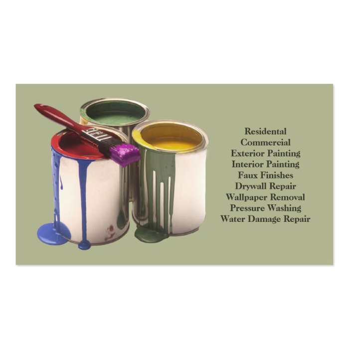 Professional Interior Paint Products For Contractors: Painting Contractor Business Card