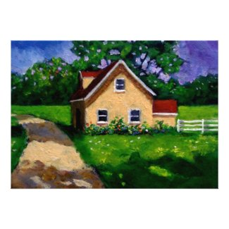Painting: Country Cottage: Housewarming Invite