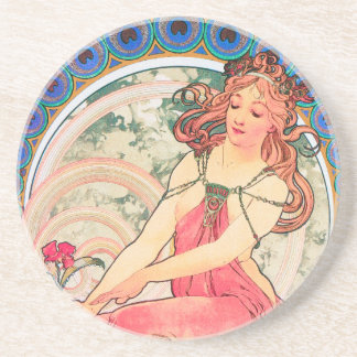 """Painting"" (detail) from The Arts Series by Mucha Coaster"