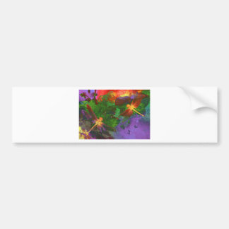 Painting Dragonflies and Flowers Car Bumper Sticker