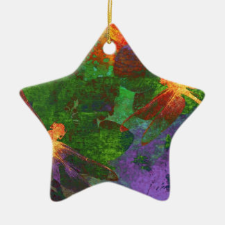Painting Dragonflies and Flowers Double-Sided Star Ceramic Christmas Ornament