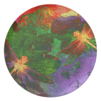 Painting Dragonflies and Flowers Plate