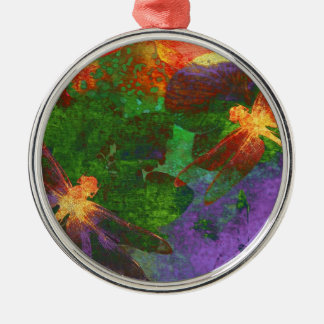 Painting Dragonflies and Flowers Round Metal Christmas Ornament