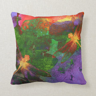 Painting Dragonflies & Flowers Throw Pillow