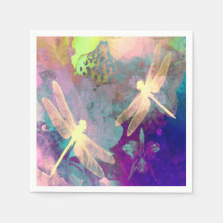 Painting Dragonflies & Orchids Paper Napkin