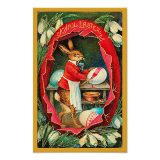 Painting Easter Eggs Red Vintage Easter Poster
