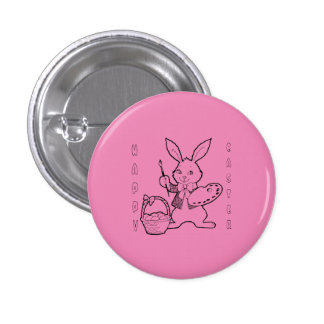 Painting Eggs Pink Happy Easter Bunny Pin Button