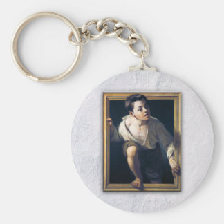 """Painting """"Escaping of critical"""" the Art Trompe-l'? Keychain"""
