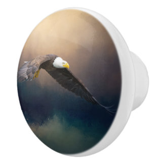 Painting flying american bald eagle ceramic knob