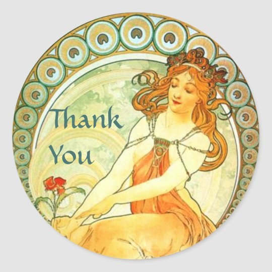 Painting. From The Arts Series by Mucha Classic Round Sticker