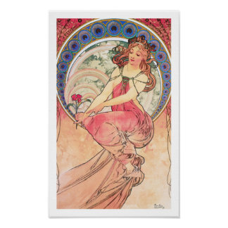 """Painting"" from the series ""The Arts"" by Mucha Poster"