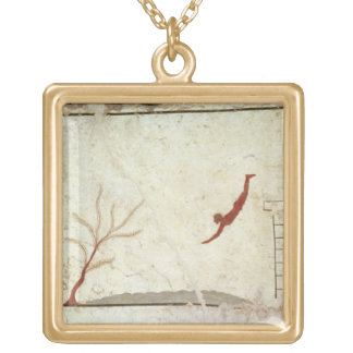 Painting from the Tomb of the Diver from the south Gold Plated Necklace