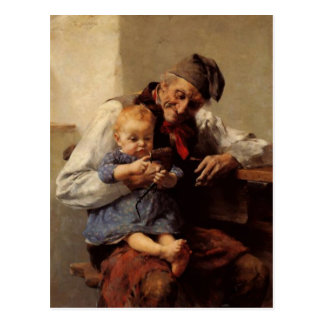 Painting Grandfather and child vintage Post Card