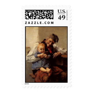 Painting Grandfather and child vintage Postage