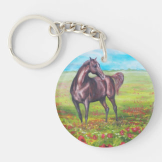 painting horse Double-Sided round acrylic keychain