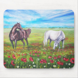 painting horses mouse pad