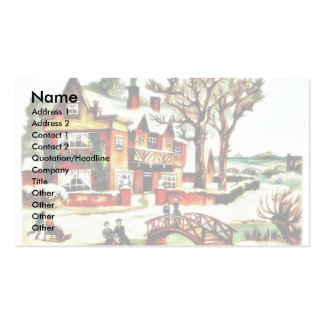painting house with trees around, people dancing a business card template