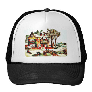 painting house with trees around, people dancing a hats