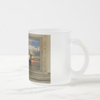 Painting in the museum of surrealism frosted glass coffee mug
