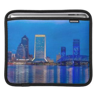 Painting Jacksonville Florida Skyline at Twilight Sleeves For iPads