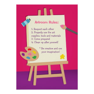 Painting Kids Art Room Class Rules Poster