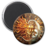 Painting : Lunar Loves Solar 2 Inch Round Magnet