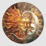 Painting : Lunar Loves Solar Classic Round Sticker