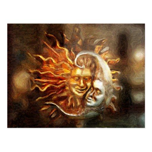 Painting : Lunar Loves Solar Postcard
