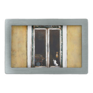 Painting -Mimi's Cats-REV.png Rectangular Belt Buckle