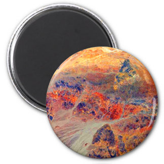 Painting: Mountains & Waterfall: 2 Inch Round Magnet