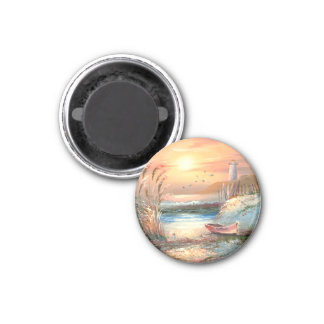 Painting Of A Beached Rowboat Near A Lighthouse 1 Inch Round Magnet