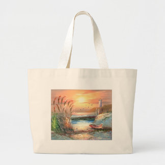 Painting Of A Beached Rowboat Near A Lighthouse Jumbo Tote Bag