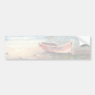 Painting Of A Beached Rowboat Near A Lighthouse Bumper Sticker