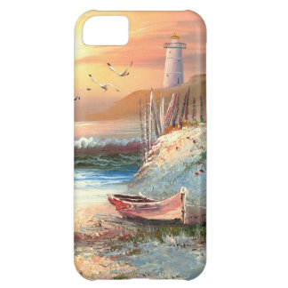 Painting Of A Beached Rowboat Near A Lighthouse Cover For iPhone 5C