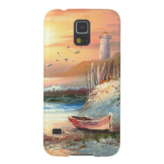 Painting Of A Beached Rowboat Near A Lighthouse Galaxy S5 Case