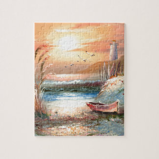 Painting Of A Beached Rowboat Near A Lighthouse Jigsaw Puzzle