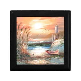 Painting Of A Beached Rowboat Near A Lighthouse Keepsake Box