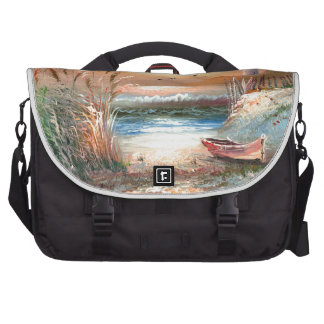 Painting Of A Beached Rowboat Near A Lighthouse Commuter Bag