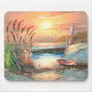 Painting Of A Beached Rowboat Near A Lighthouse Mouse Pad