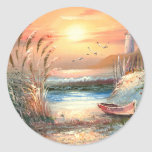 Painting Of A Beached Rowboat Near A Lighthouse Round Stickers